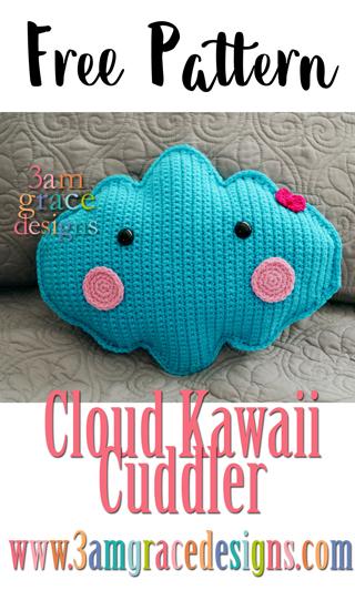 Free Cloud crochet pattern to make your own beautiful amigurumi Cloud pillow.