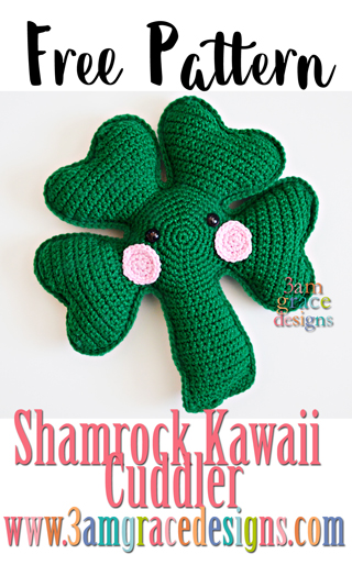 Our free shamrock crochet pattern makes a perfect St Patrick's day pillow. He's full of yarn cuteness in his green 4 leaf clover disguise.