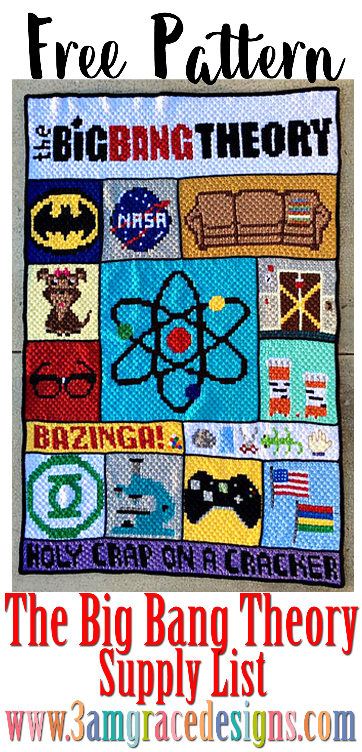 bib bang theory crochet afghan spply list