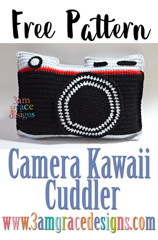 Free camera crochet pattern for an amigurumi pillow. Easily turned into a bag for a fun gift.