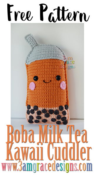Our free Boba Milk Tea crochet pattern is an adorable summer treat. The pillow sized amigurumi is sure to be a child's favorite!