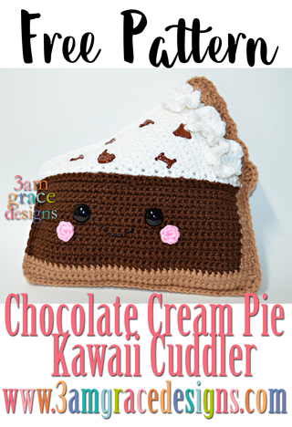 Free pattern for our crochet chocolate cream pie kawaii cuddler! His whip cream and chocolate chunks make him almost good enough to eat.