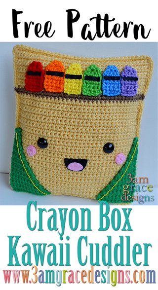Our Free Crayon Box crochet pattern makes a great teacher gift. The amigurumi design is large enough for a pillow and features adorable little crayons.