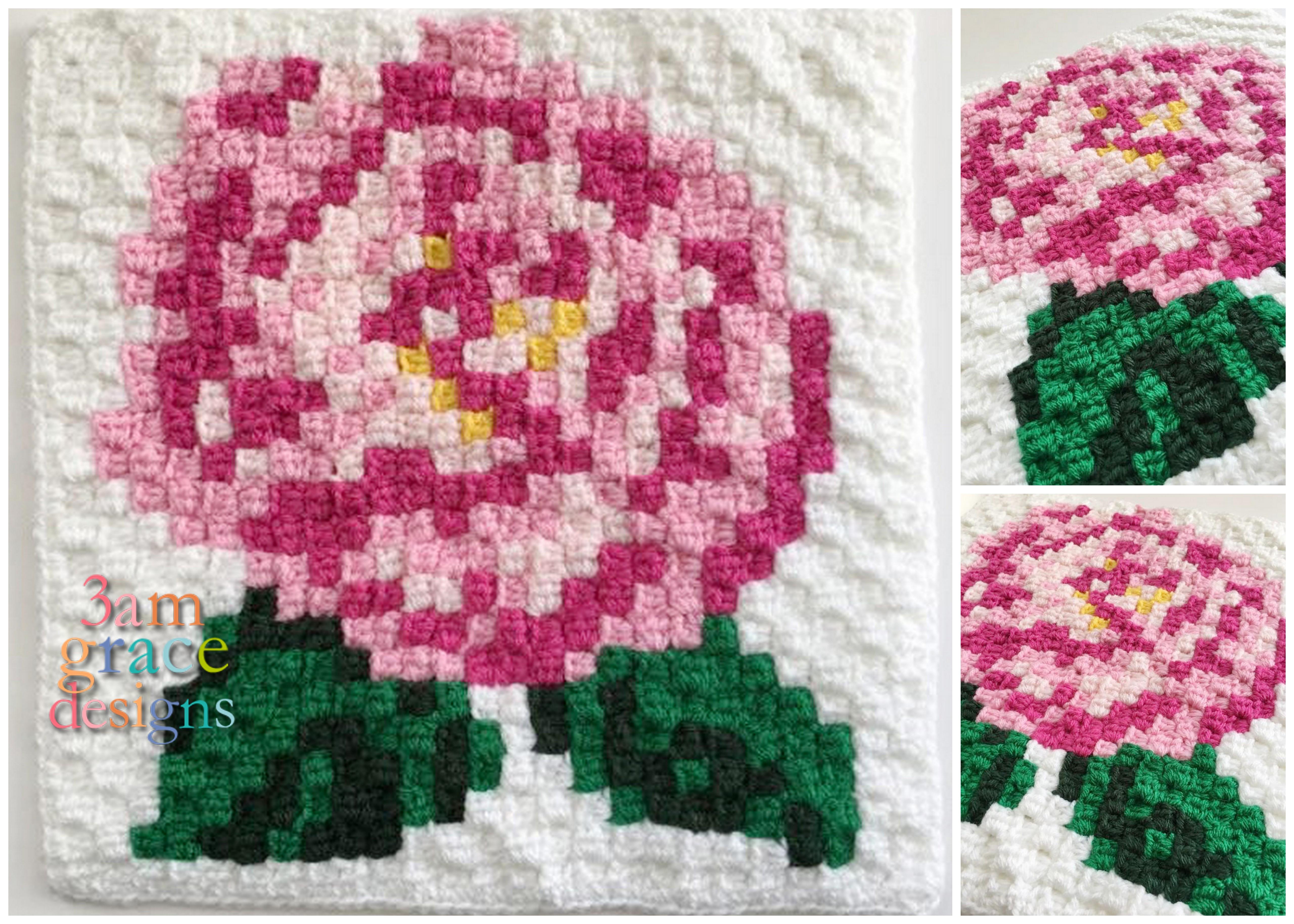 free crochet pattern C2C corner to corner nature flower