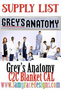 Grey's Anatomy C2C CAL – Supply List