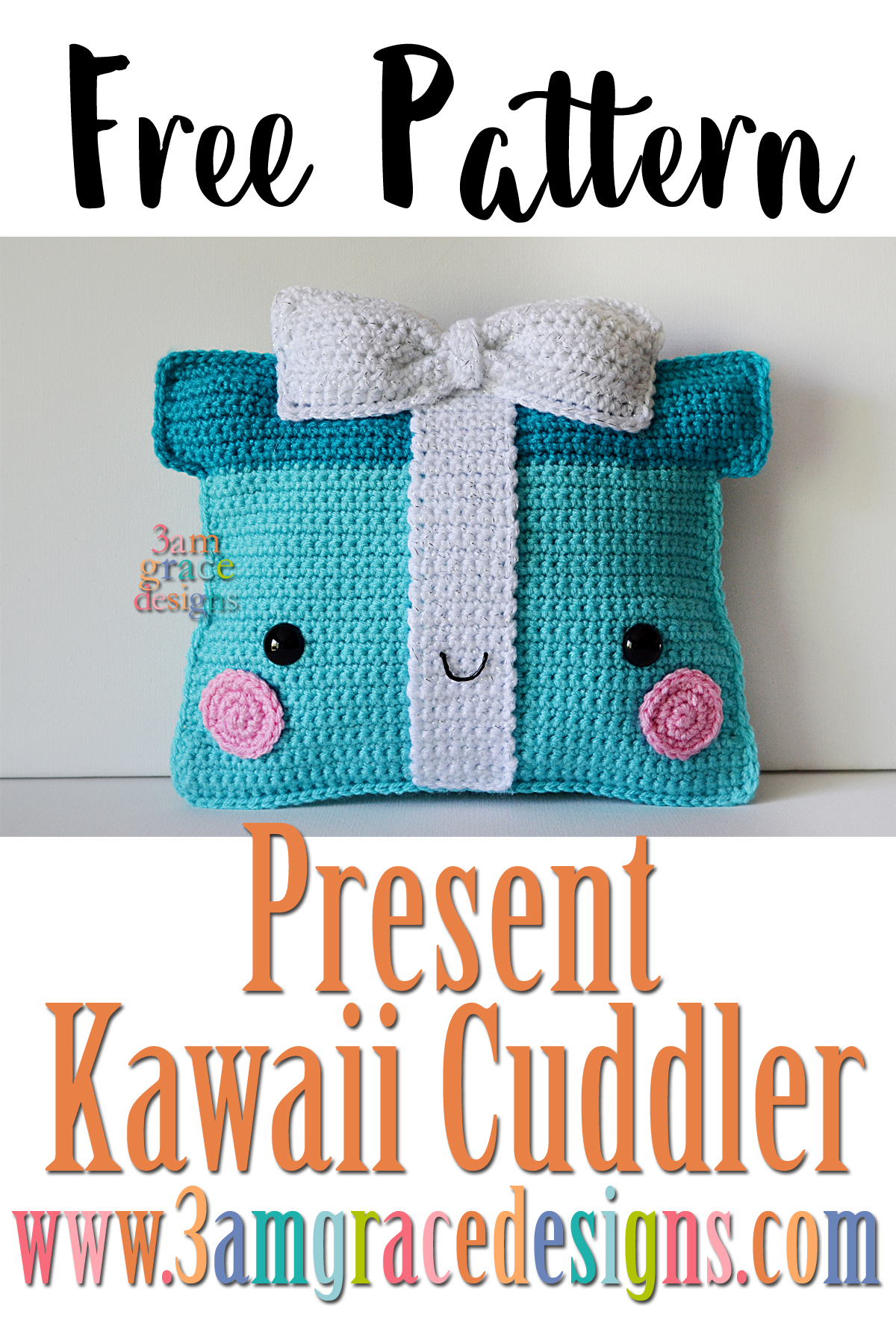 Our free Christmas Present crochet pattern is a great gift the the crocheter in your life. The amigurumi pillow is easy to make this holiday season!