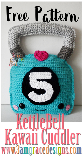 Our free kettlebell crochet pattern is perfect for your favorite crossfit baby! Our tutorial makes an amigurumi pillow you're sure to love.