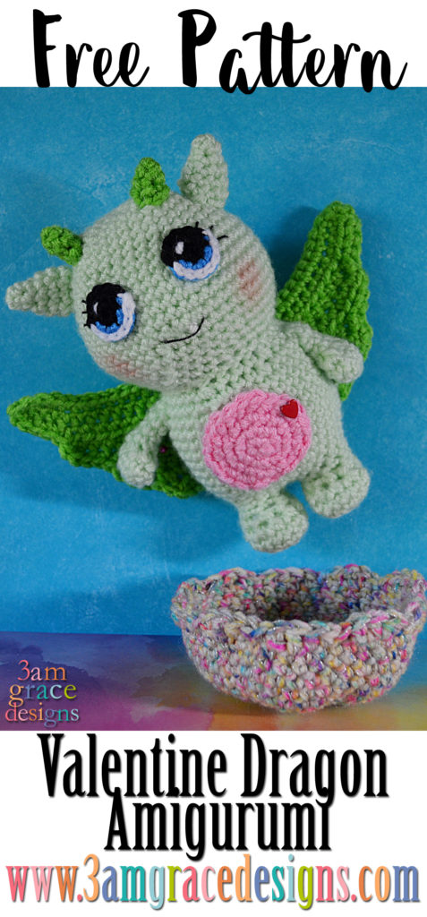 Dylan The Valentine Dragon Free Amigurumi Pattern 3amgracedesigns