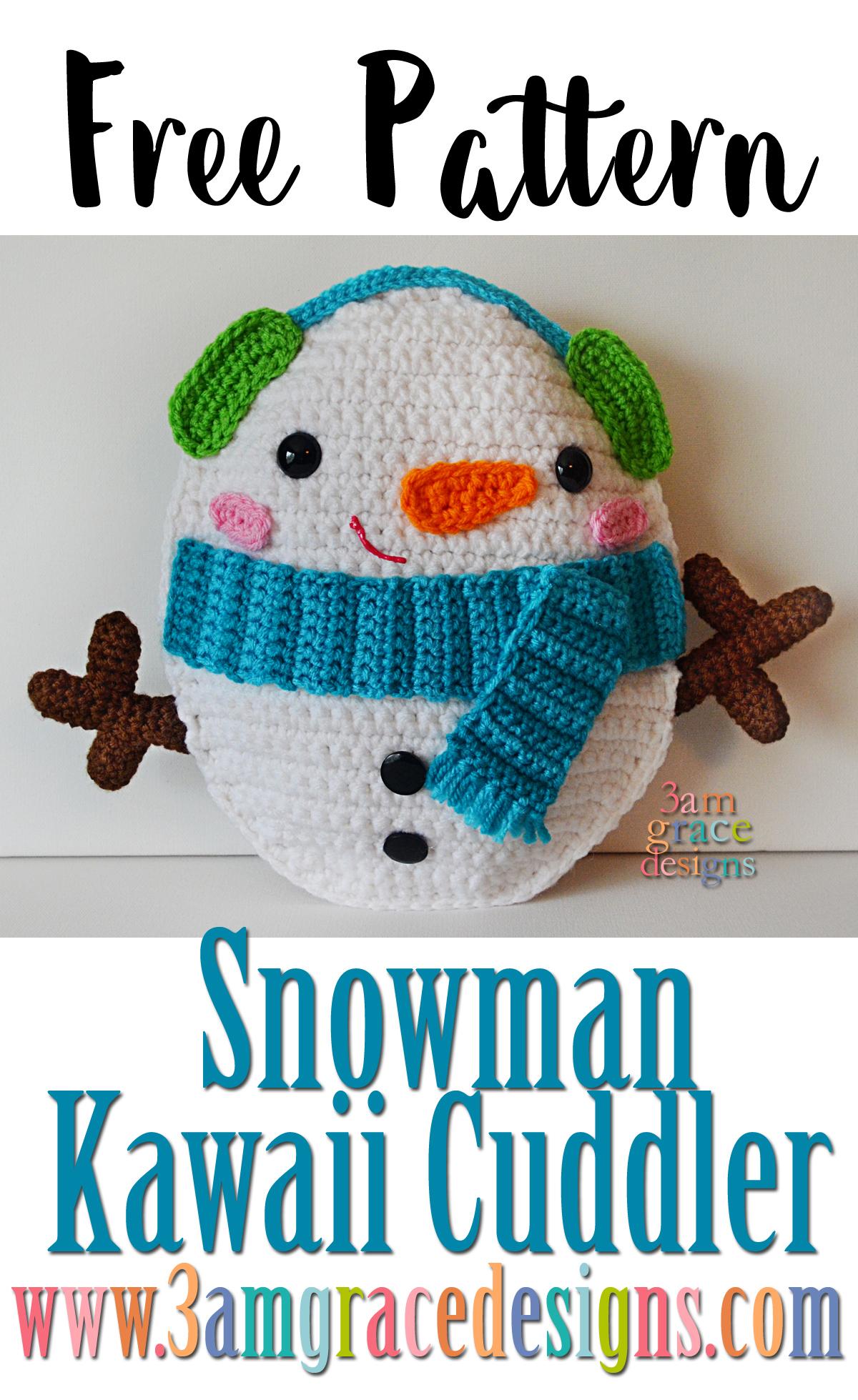 Snowman Kawaii Cuddler Free Crochet Pattern 3amgracedesigns
