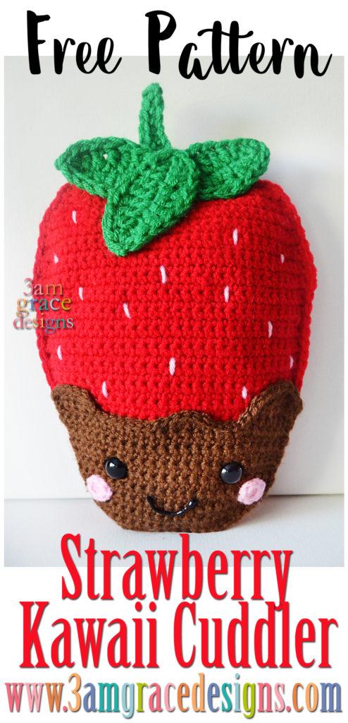 Strawberry Kawaii Cuddler Free Crochet Pattern 3amgracedesigns