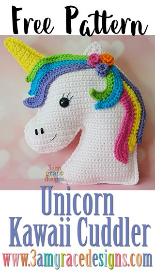 Our free unicorn crochet pattern makes a unique pillow or can be used as an amigurumi! We provide a video tutorial for the mane.