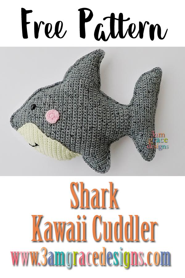 Shark Kawaii Cuddler Free Crochet Pattern 3amgracedesigns
