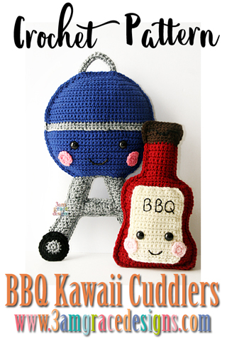 Our free grill crochet pattern is adorable for summer BBQ's! He'd make a great back porch pillow or cushion!