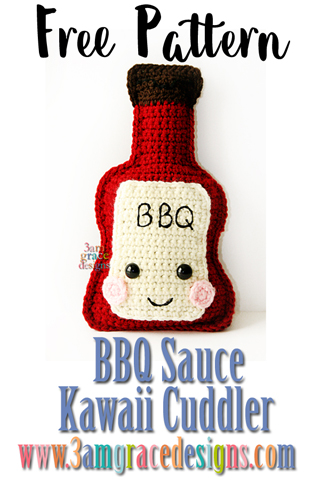 Free BBQ sauce crochet amigurumi pattern. Make him with our grill pillow for a perfect hostess gift.