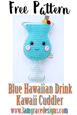 Free Blue Hawaiian crochet amigurumi pattern is such a cute cocktail pillow! With her fruit details and little cheeks, she's sure to bring joy.
