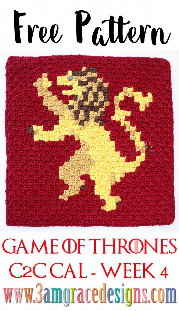 Games Of Thrones C2c Cal Week 4 Free Crochet Pattern