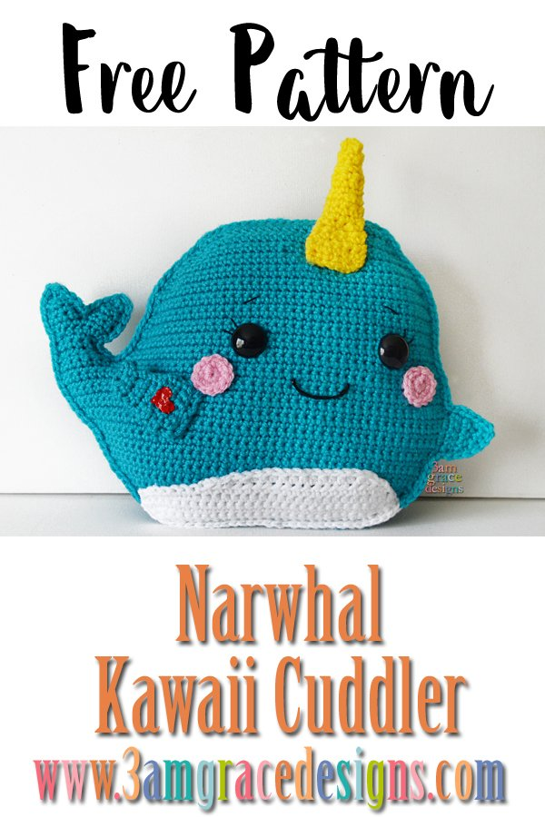 Narwhal Kawaii Cuddler Free Crochet Pattern 3amgracedesigns
