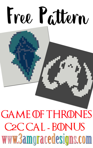 Game of Thrones C2C crochet pattern & tutorial for a graphgan blanket. These panels feature Wildlings & White Walkers sigils.