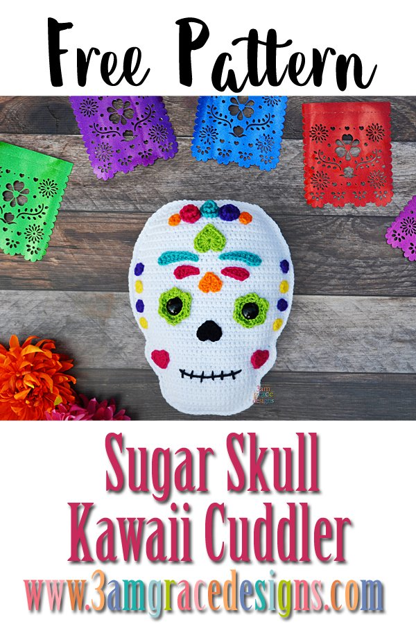 Free Sugar Skull amigurumi crochet pattern el dia de los muertos day of the dead