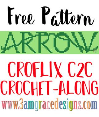 Arrow free C2C crochet pattern & tutorial for our Croflix Graphgan project
