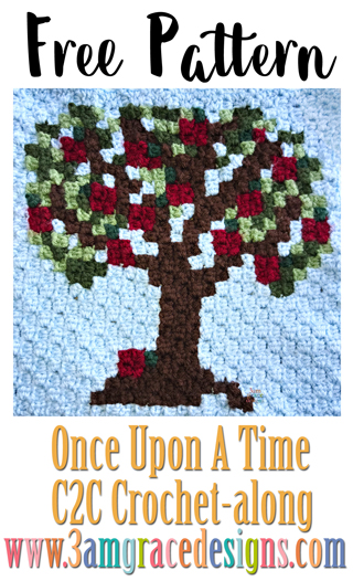 Free apple tree C2C crochet pattern and tutorial for our Once Upon A Time graphgan.