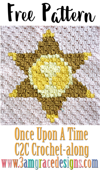 Once Upon A Time C2C Crochet pattern & Tutorial for our Graphgan Blanket project. Make a Sheriff Star panel to personalize your blanket!
