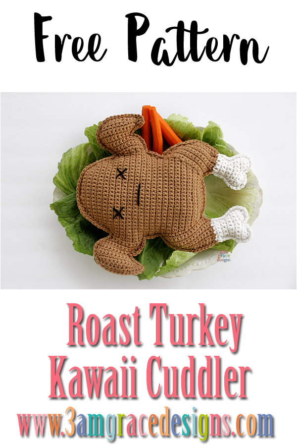 Free Roast Turkey crochet pattern perfect for Thanksgiving! #crochet #amigurumi# #thanksgiving