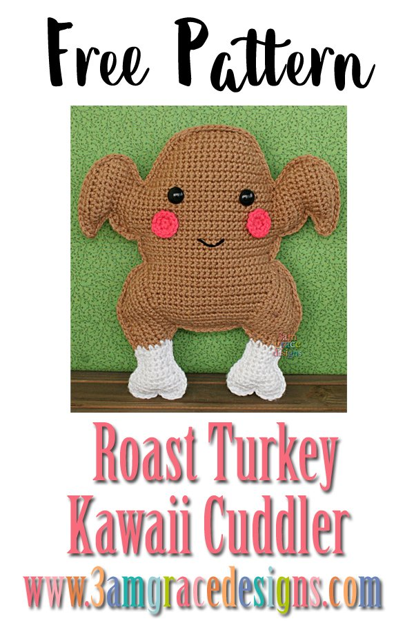 Free Roast Turkey crochet amigurumi pattern perfect for Thanksgiving!