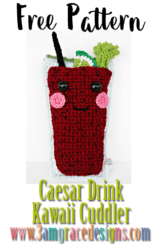 Our free Caesar Drink amigurumi crochet pattern is the sweetest cocktail complete with garnish! He's an addition to our Happy Hour collection just in time for New Year's Eve celebrations!