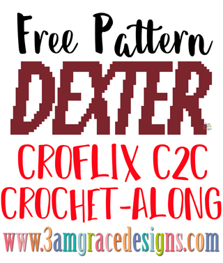 Dexter C2C free crochet pattern & tutorial for our Croflix graphgan blanket project. Choose your favorite hit shows to create your own crochet blanket!