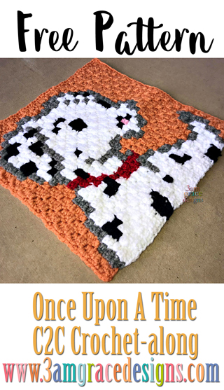 Once Upon A Time C2C free crochet pattern & tutorial to create a show themed graphgan. This week is our beautiful Pongo C2C crochet square!