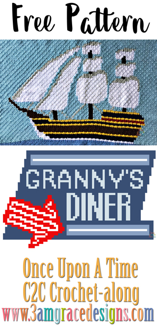 Once Upon A Time C2C crochet pattern & tutorial for our graphgan blanket. Choose from the Jolly Roger C2C crochet panel or Granny's Diner!