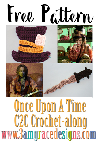 Once Upon A Time C2C crochet pattern and tutorial for our graphgan blanket. The Mad Hatter and Dark One Dagger free applique crochet patterns are perfect for your afghan!