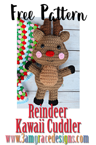 Our free reindeer amigurumi crochet pattern is just in time for Christmas! He can be made with a red nose to represent Rudolph or a brown nose to participate in reindeer games.