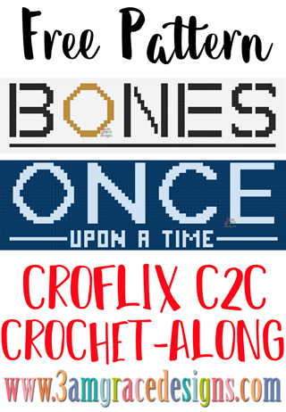 Our Croflix C2C crochet pattern & tutorial allows you to choose your favorite graphs for a custom graphgan blanket. Bones & Once Upon A Time are included this week.