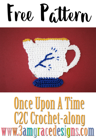 Our Once Upon A Time C2C crochet pattern & tutorial allows you to choose your favorite graphs for a custom graphgan blanket. This week is our Chipped Cup applique crochet pattern.