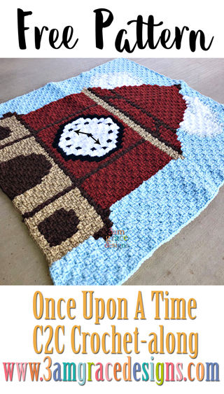 Once Upon A Time free C2C crochet pattern & tutorial for our show themed graphgan blanket. This week is the Clock Tower!
