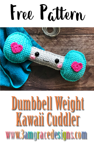Our free dumbbell weight kawaii cuddler amigurumi crochet pattern is perfectly timed for your new years resolution fitness goals!