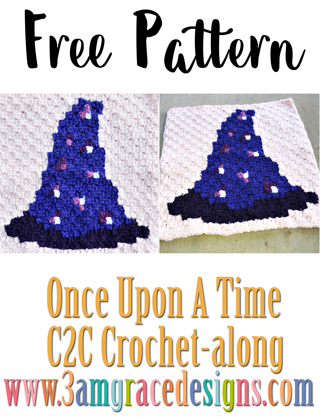 Our Once Upon A Time C2C crochet pattern & tutorial allows you to choose your favorite graphs for a custom graphgan blanket. This week's chart is to make the Sorcerer's Hat.