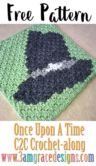 Once Upon A Time free C2C crochet pattern & tutorial for our show themed graphgan blanket. This week is Zelena's Hat!