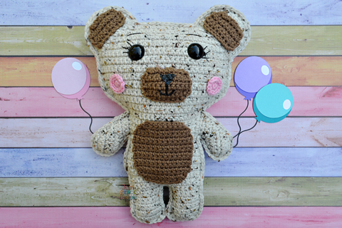teddy bear crochet pattern holding balloons